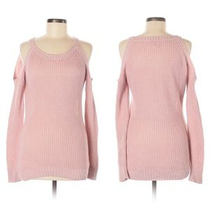 Hippie Rose Sweaters - Hippie Rose Blush Pink Cold Shoulder Knit Sweater
